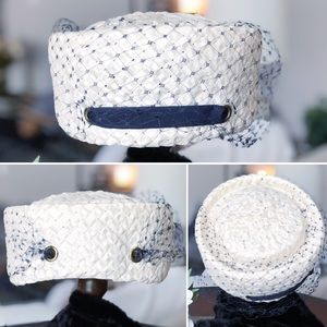 Vintage White Netted Pillbox Hat - Union Made
